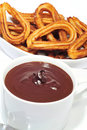 Churros com chocolate Fotos de Stock Royalty Free