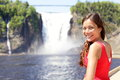 Chute Montmorency fallsquebec and woman tourist Royalty Free Stock Photo