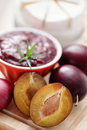 Chutney plum with cheese Royalty Free Stock Images