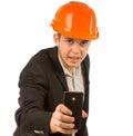 Ciérrese encima del ingeniero de sexo masculino taking mobile picture Imagen de archivo libre de regalías