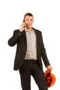 Ciérrese encima del ingeniero talking through phone de la edad media Imagen de archivo