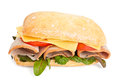 Ciabatta Bread Sandwich with Ham and Cheese Royalty Free Stock Photo