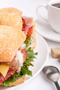 Ciabatta bread sandwich stuffed with meat,cheese and vegetables Royalty Free Stock Photo