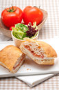 Ciabatta panini sandwich with parma ham and tomato Royalty Free Stock Images