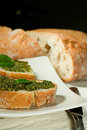 Ciabatta with pesto Royalty Free Stock Photography