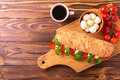 Ciabatta sandwich with caprese salad with coffee. Royalty Free Stock Photo