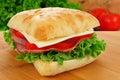 Ciabatta sandwich with ham cheese lettuce and tomato Stock Image