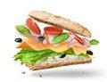 Ciabatta Sandwich with Lettuce, Tomatoes, Ham Royalty Free Stock Photo