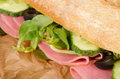 Ciabatta sub detail stuffed with vegetables and mortadella Stock Images