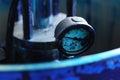 Cian barometer for printing jar at typography close up Royalty Free Stock Photo