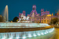 Cibeles fountain and the cybele palace formerly named palace of communication madrid spain is found in part commonly called paseo Stock Images
