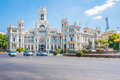 Cibeles fountain and the cybele palace madrid spain formerly named of communication of is found in Stock Photo
