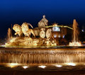Cibeles night statue in Madrid Paseo Castellana Royalty Free Stock Photos