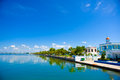 Cienfuegos cuba september cienfuegos tennis and yatch club building and marina under bright daylight sun Royalty Free Stock Image