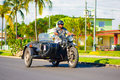 Cienfuegos cuba september motorcycle classic with sidecar are still in use and old timers have become an iconic view Stock Images
