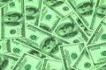 Cientos arra de los billetes de banco del dólar Foto de archivo