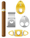 Cigar and cutter vector illustration Royalty Free Stock Photo