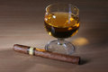 Cigar and whiskey Stock Photography