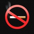 Cigarette forbid sign symbol on black Royalty Free Stock Photo