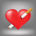 Cigarette and heart illustration with on grey background graphic design useful for your design red pierced by burning Stock Photos