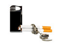 Cigarette-lighter and Cigarette Royalty Free Stock Photography