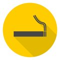 Cigarette smoke sign icon with long shadow