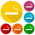 Cigarette smoke sign icons set with long shadow