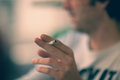 Cigarette smoking selective focus man at day light on used Stock Photo