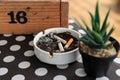 Cigarette stub on ashtray Royalty Free Stock Photo