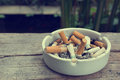 Cigarette stub in ashtray Royalty Free Stock Photo