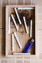 Cigarette wood background zoom cigarrette Royalty Free Stock Photo