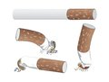 Cigarettes set of with filter ash and nicotine Royalty Free Stock Images