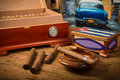 Cigars and humidor Royalty Free Stock Photo