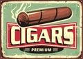 Cigars shop retro sign design template Royalty Free Stock Photo
