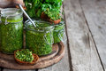 Cilantro pesto background Royalty Free Stock Photo