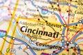 Cincinnati, Ohio on map Royalty Free Stock Photo