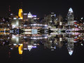 Downtown Cincinnati Ohio Skyline Reflection Royalty Free Stock Photo