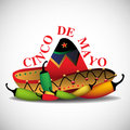 Cinco de mayo abstract colorful background with mexican sombrero and hot peppers holiday theme Royalty Free Stock Photography
