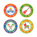 Cinco de mayo badges a colorful set of badge illustrations in celebration of the mexican holiday Stock Image