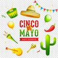 Cinco De Mayo celebration banner or poster design on png background.