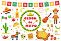 Cinco de Mayo celebration in Mexico, icons set, design element, flat style.Collection objects for Cinco de Mayo parade