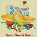 Cinco de mayo composition hand drawn cartoon illustration of a greeting card with mexican traditional elements oven a grungy Royalty Free Stock Photo