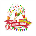 Cinco de Mayo. An inscription with a wish of happiness. Sombrero, maracas, flags, red peppers. illustration