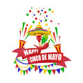 Cinco de Mayo. Merry holiday. Write with a wish for happiness on the tape. Sombrero, crackers, candies, flags, maracas