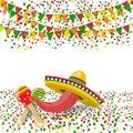 Cinco de Mayo. Red pepper, maracas, sombreros. Confetti and festive flags. illustration