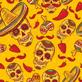Cinco de mayo seamless pattern skull in sombrero day of the dead Royalty Free Stock Photos