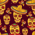 Cinco de mayo seamless pattern skull in sombrero day of the dead Royalty Free Stock Photo