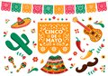Cinco de Mayo set of mexican culture decoration