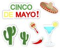 Cinco de mayo set of stickers with symbols of the holiday Stock Images