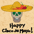 Cinco de mayo skull hand drawn cartoon illustration of a greeting card with a funny with sombrero hat and peppers oven a grungy Stock Photo